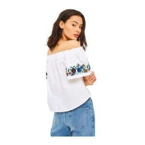 Topshop Embroidered Off the Shoulder Peasant Top 6